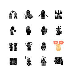 Panic disorder black glyph icons set on white vector