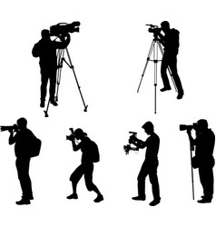 Photographers and videographers silhouettes vector