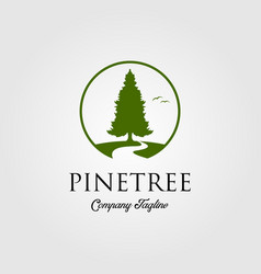 pine tree logo with river or creek vector image