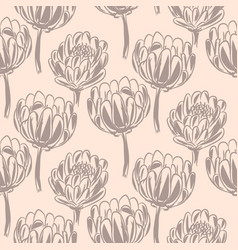 Protea flower simple seamless pattern vector