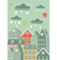 Rainy city vector image