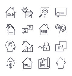 Real estate thin line art icons set residential vector