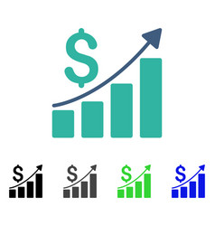Sales growth chart flat icon vector