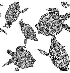 seamless monochrome pattern with turtles vector image