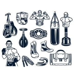 Set boxing icons isolated on white vector