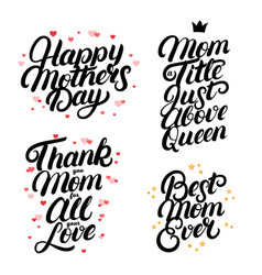 set mothers day hand written lettering quotes vector image