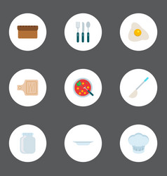 set of food icons flat style symbols with plate vector image