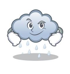 Smirking rain cloud character cartoon vector
