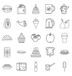 Street coffee house icons set outline style vector