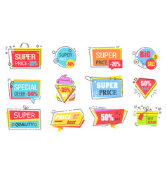 super price reduction advertisement emblems set vector image