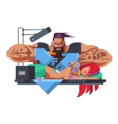 Tattoo master at work vector
