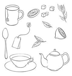 tea set vector image
