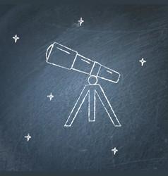 Telescope icon on chalkboard vector