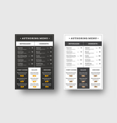 Template menu for cafes and restaurants blocks vector