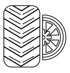 tire icon outline style vector image