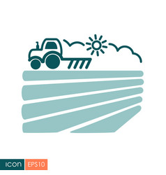 Tractor plows the field before sowing icon vector