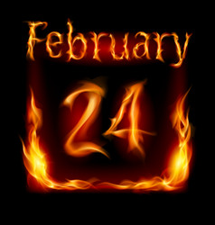 Twenty-fourth february in calendar of fire icon vector
