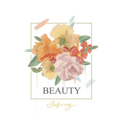 typography beauty slogan with flowers vector image