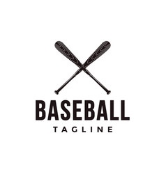 vintage baseball logo with crossed wooden bat vector image