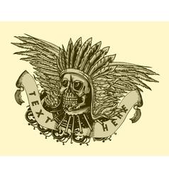 Vintage t-shirt design with skull vector