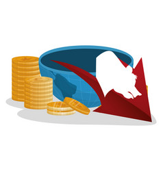 Wall street bear down economy coins vector