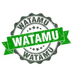 Watamu round ribbon seal vector