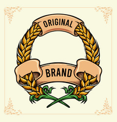 wheat badge with ribbon banner vintage vector image