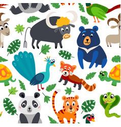 Wild asia animals seamless pattern in flat style vector