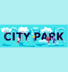 winter city park horizontal banner vector image