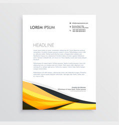 Yellow and black abstract wave letterhead template vector