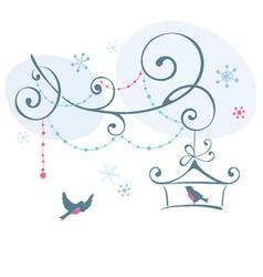 Birds in winter vector image vector image