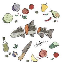 Fish with vegetables vector image