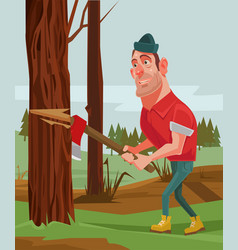 lumberjack man character chopping wood vector image