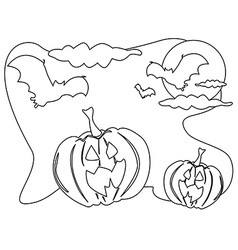 Outline of Halloween background vector image