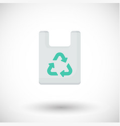 plastic bag with recycle sign flat icon vector image vector image