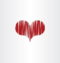 scratched heart icon symbol vector image vector image