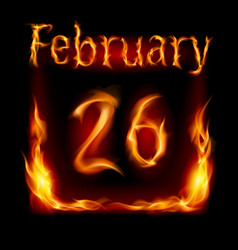 twenty-sixth february in calendar of fire icon on vector image vector image