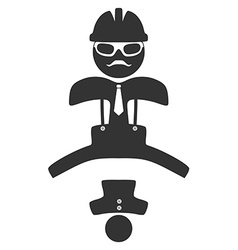Hipster engineer jumping pictograph Isolated on vector image