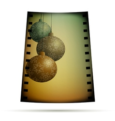 Negative film with xmas balls vector image vector image