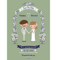 Rustic cartoon couple wedding card vector image vector image