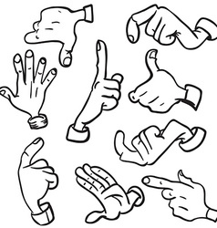 simple black and white hands vector image vector image