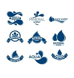 Blue logos set Label for mineral water Aqua vector image vector image
