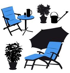 garden furniture silhouettes vector image