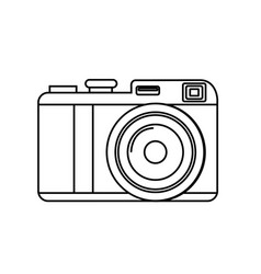 Line cute digital camera to take a picture vector