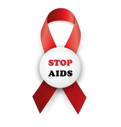 red ribbon - AIDS vector image vector image
