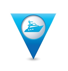 yacht icon map pointer blue vector image vector image