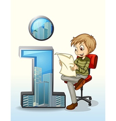 A man reading beside the number one symbol vector image vector image