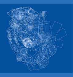 car engine rendering of 3d vector image