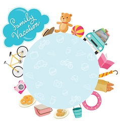 Family Vacation Objects Icons on Round Frame vector image vector image