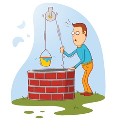 man at well vector image vector image